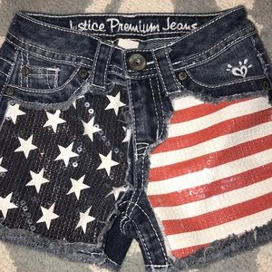 Justice shorts red white and blue size 8small